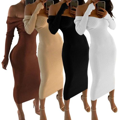Women Sexy V Neck Off Shoulder Long Sleeve Knitted Bodycon Maxi Dress